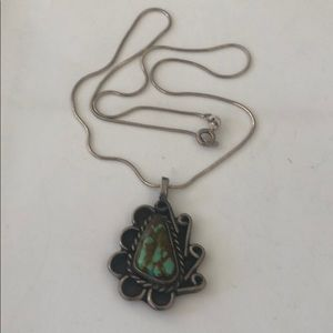 Vintage Turquoise Pendant Sterling Silver Necklace